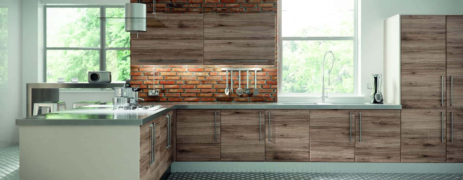 wood and brick facade backsplash