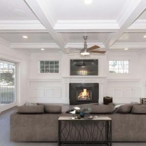 Living room with white walls and white coffered ceiling with bead board coffers and built ins.