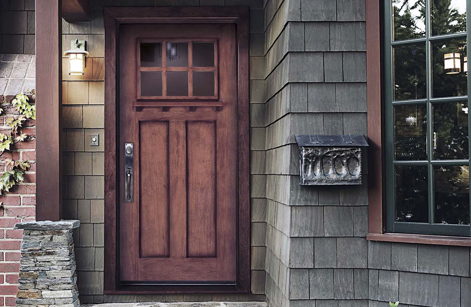 purple hue front door with gray siding