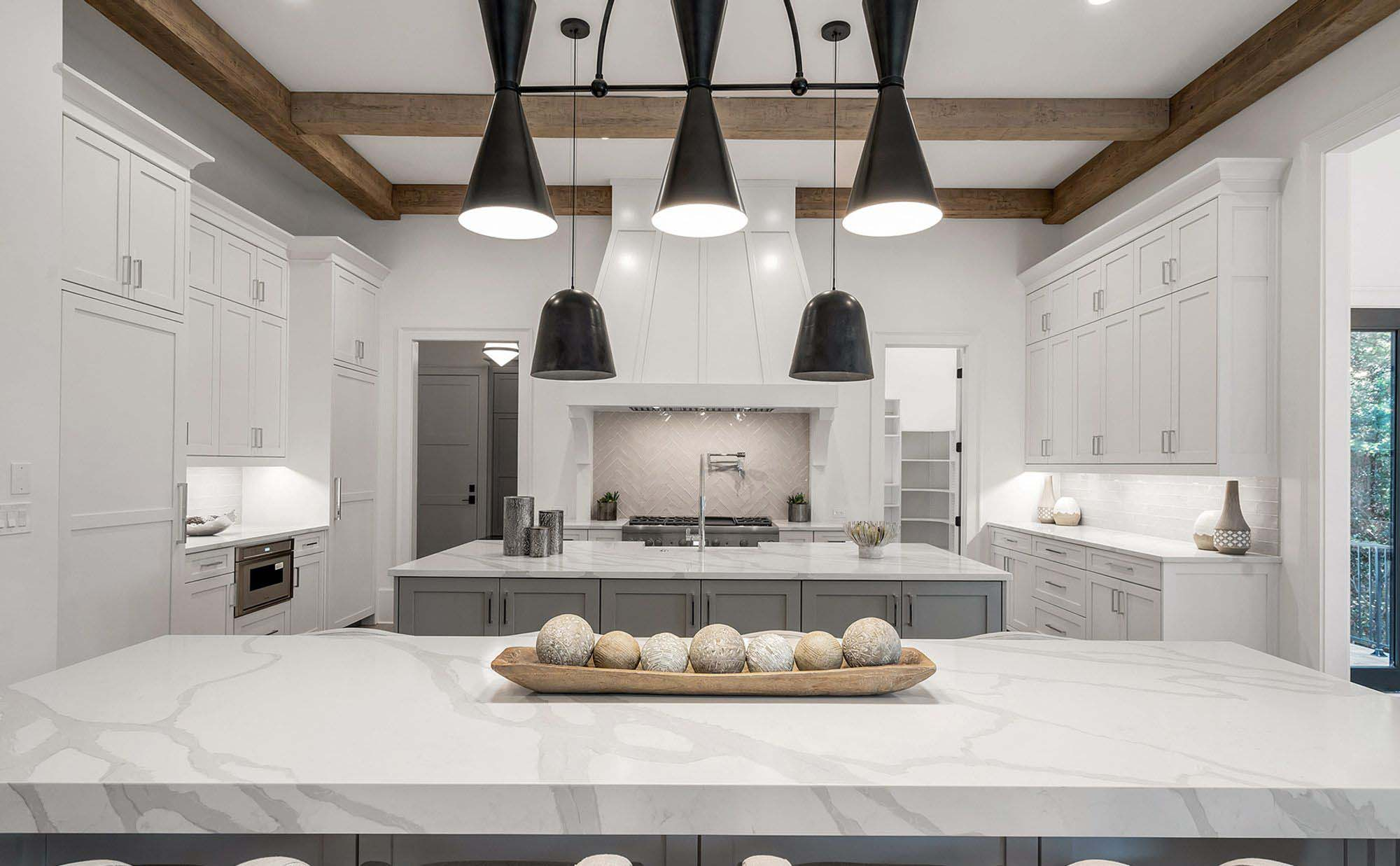exposed kitchen ceiling beams white and marble luxury kitchen design light grey and white shaker cabinets