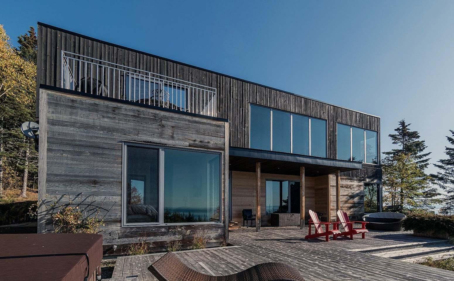 black real wood siding on a modern home