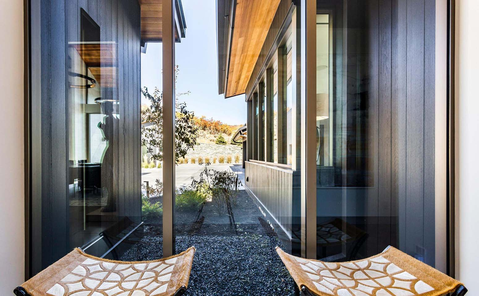 Black siding option on a modern home closeup photo