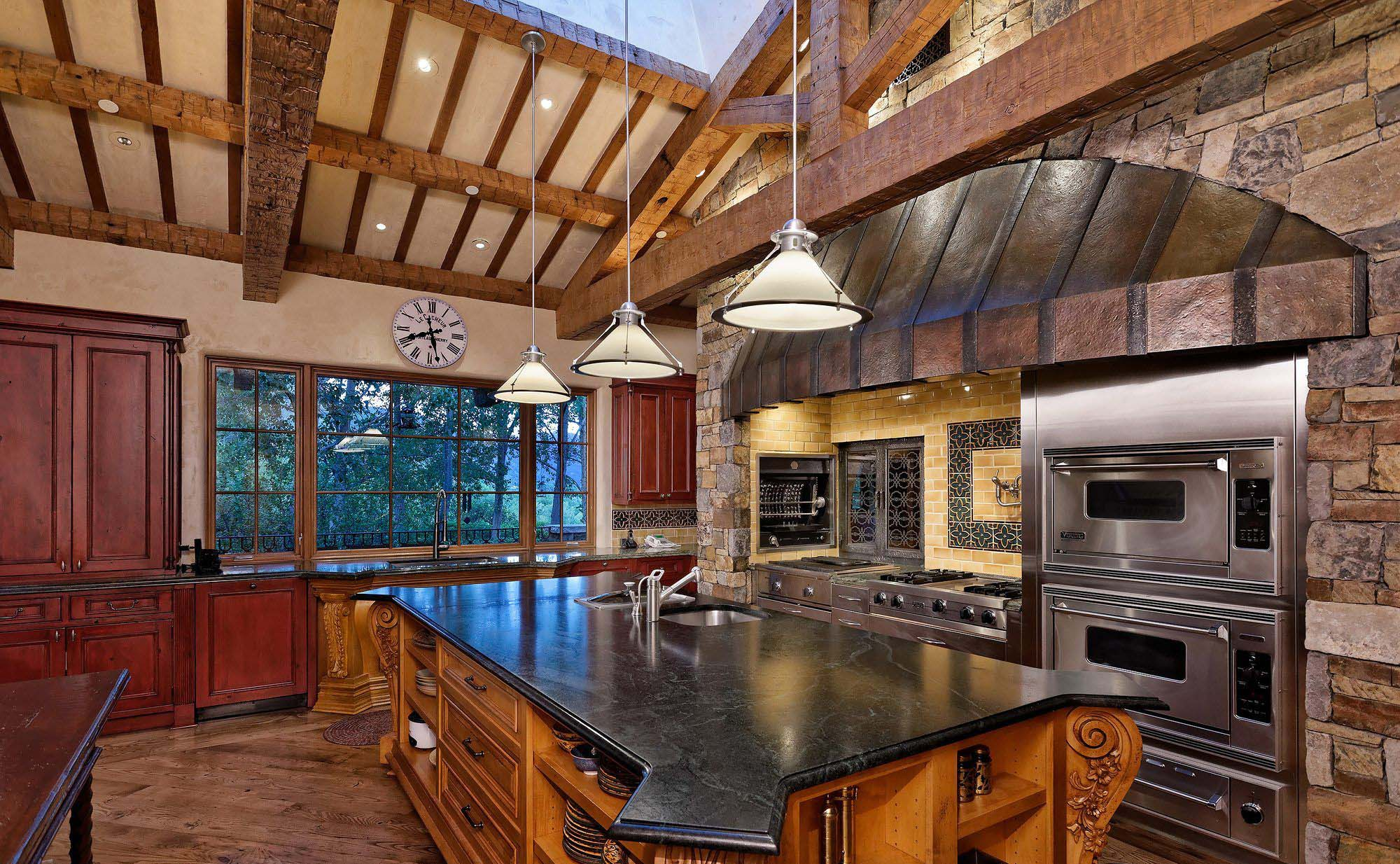 exposed ceiling beam country kitchen rustic style