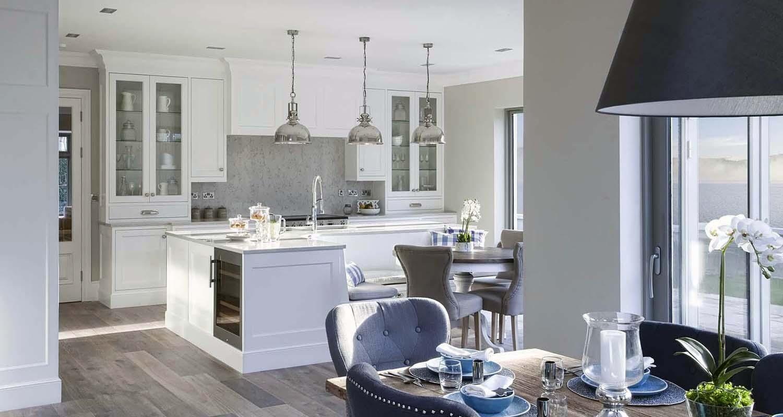 granite kitchen backsplash white cabinets open floor plan