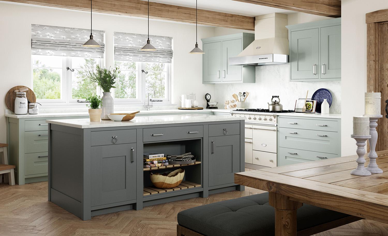quartz solid slab kitchen backsplash exposed wood ceiling beams grey cabinets shaker style