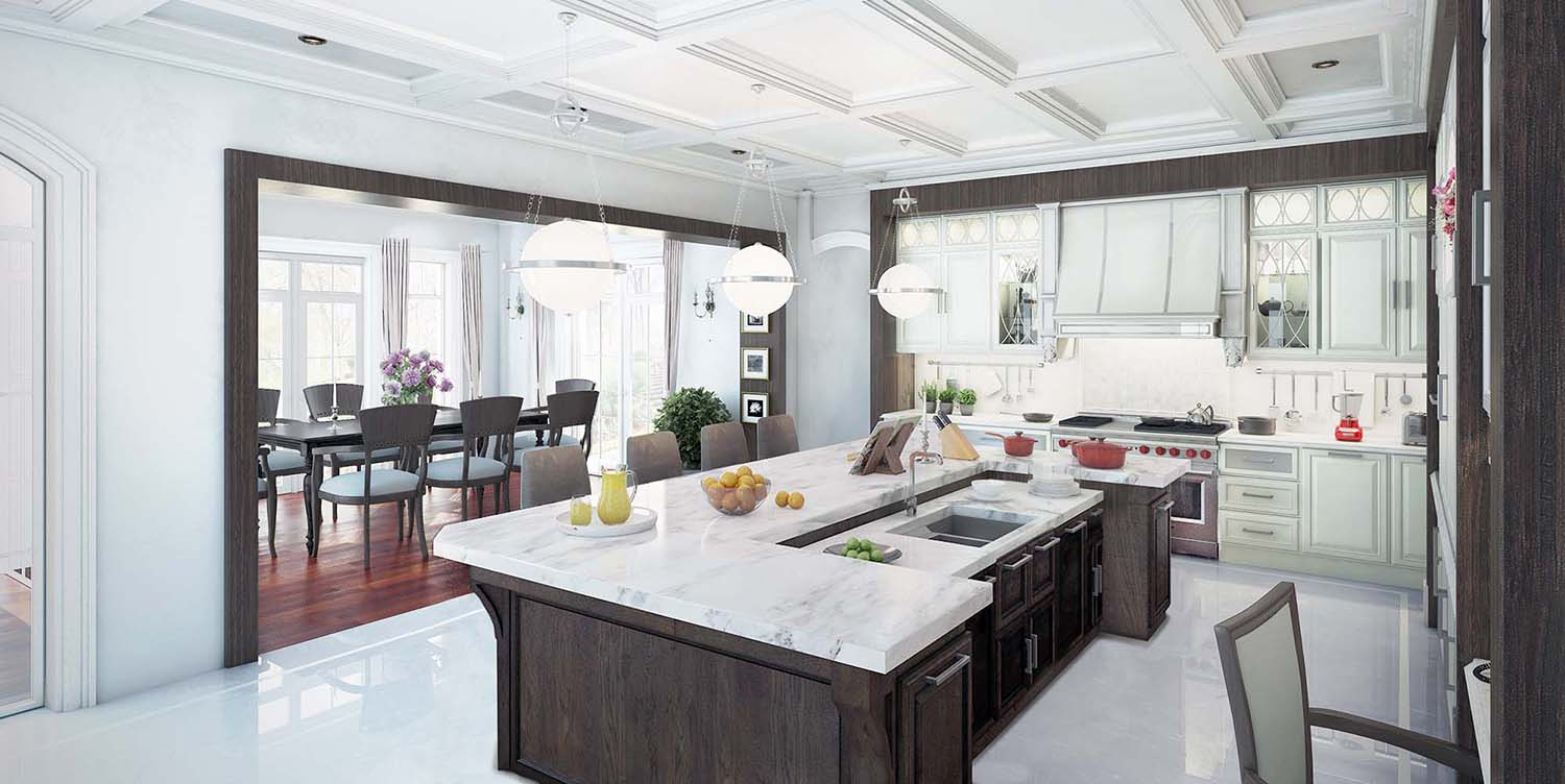 Luxury kitchen with marble countertops and dark brown island and white cabinets white coffered ceiling.