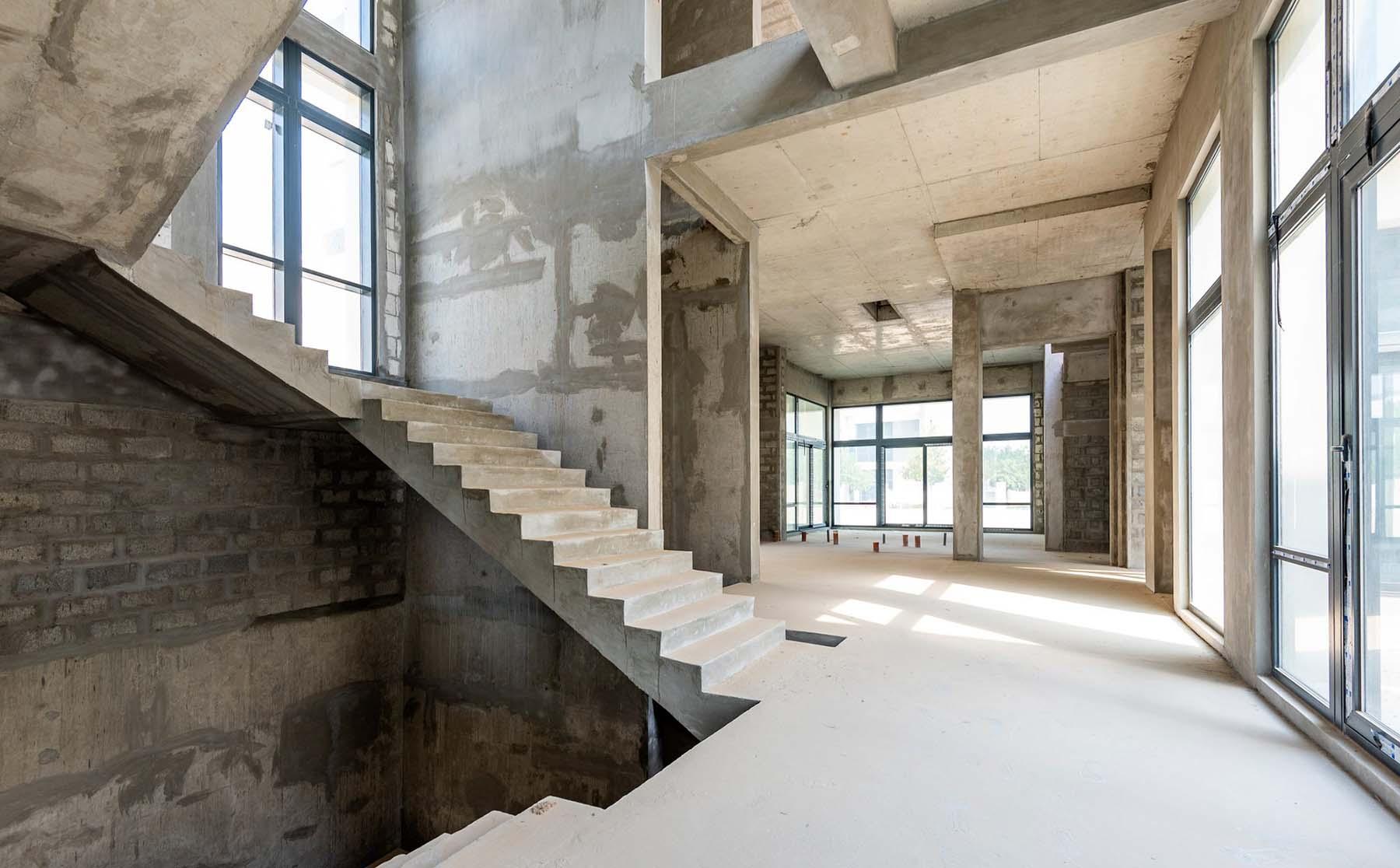 industrial style concrete modern stair design