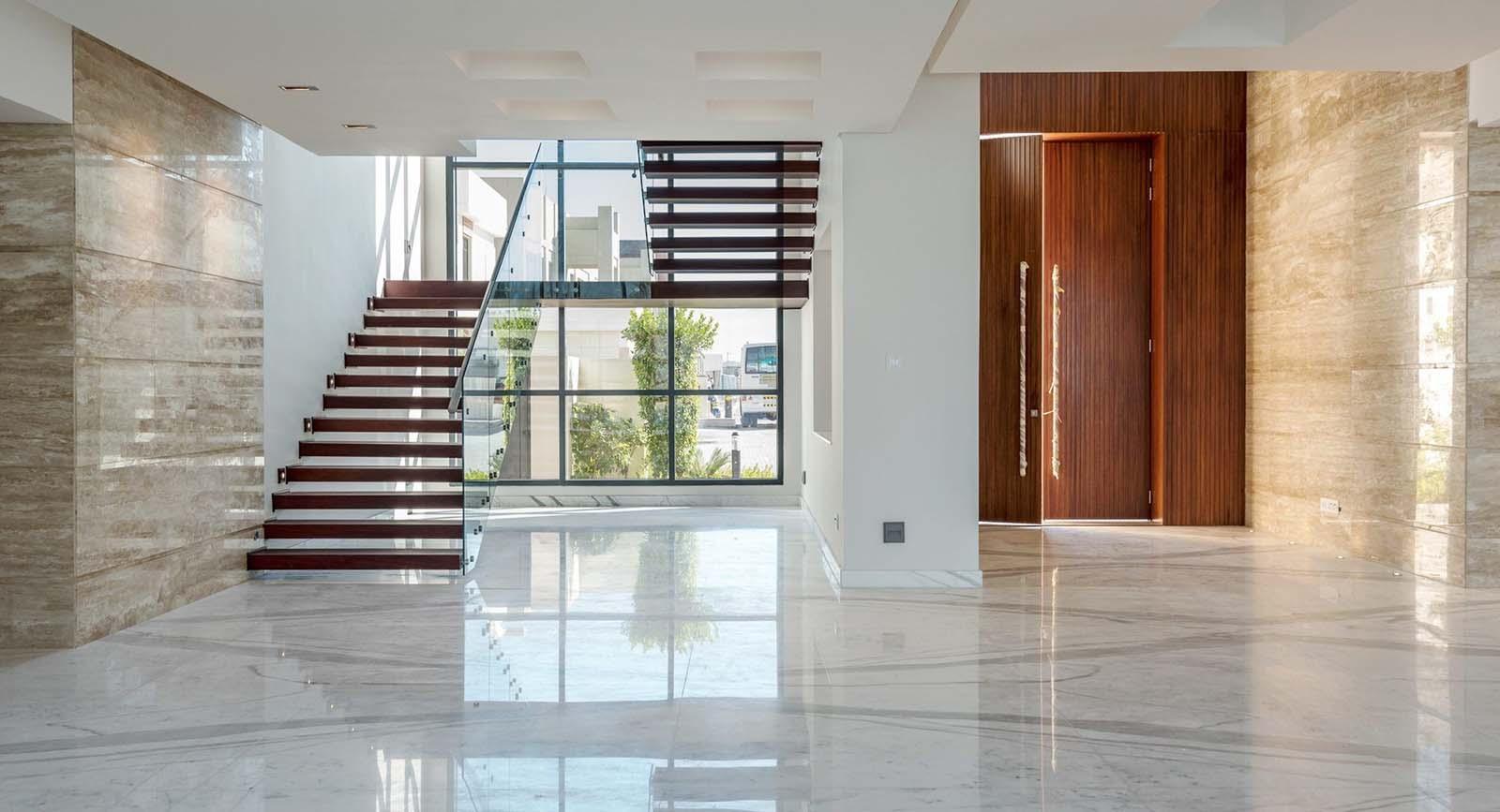 ultra modern staircase design open wood risers glass railings steel frame