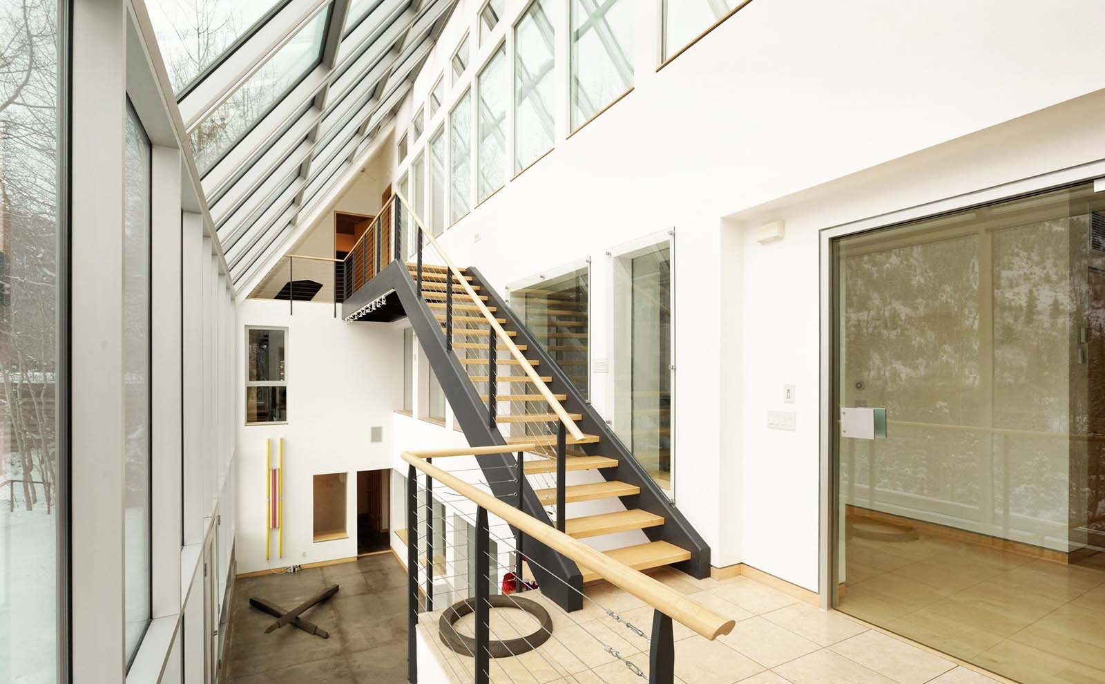contemporary stair ideas open wood risers with cable railings