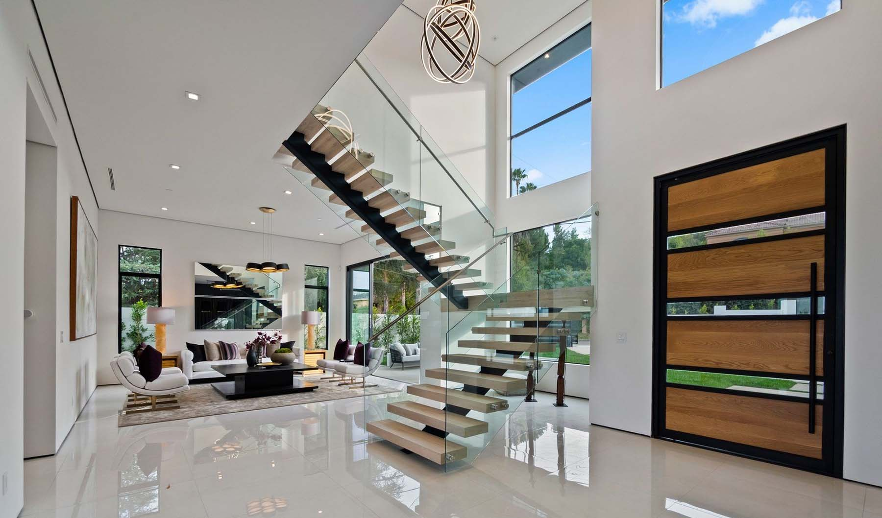 modern staircase design glass railings with floating steps