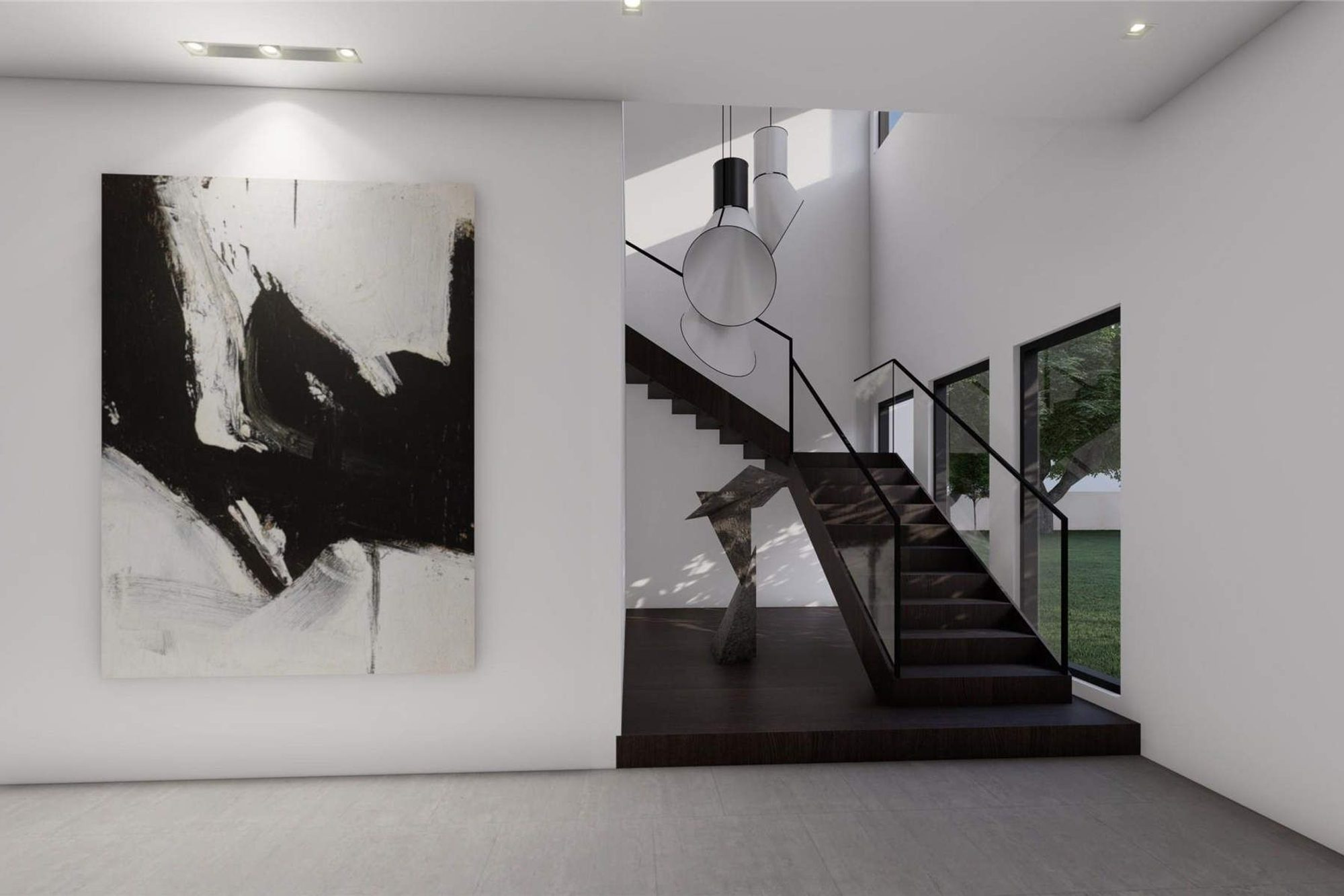 Stunning black modern staircase design with coffee bean wood finish, glass rails and black hand rail. Floating staircase.