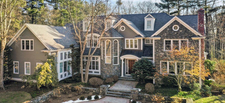 gray house color combinations dark brown front door real stone veneer