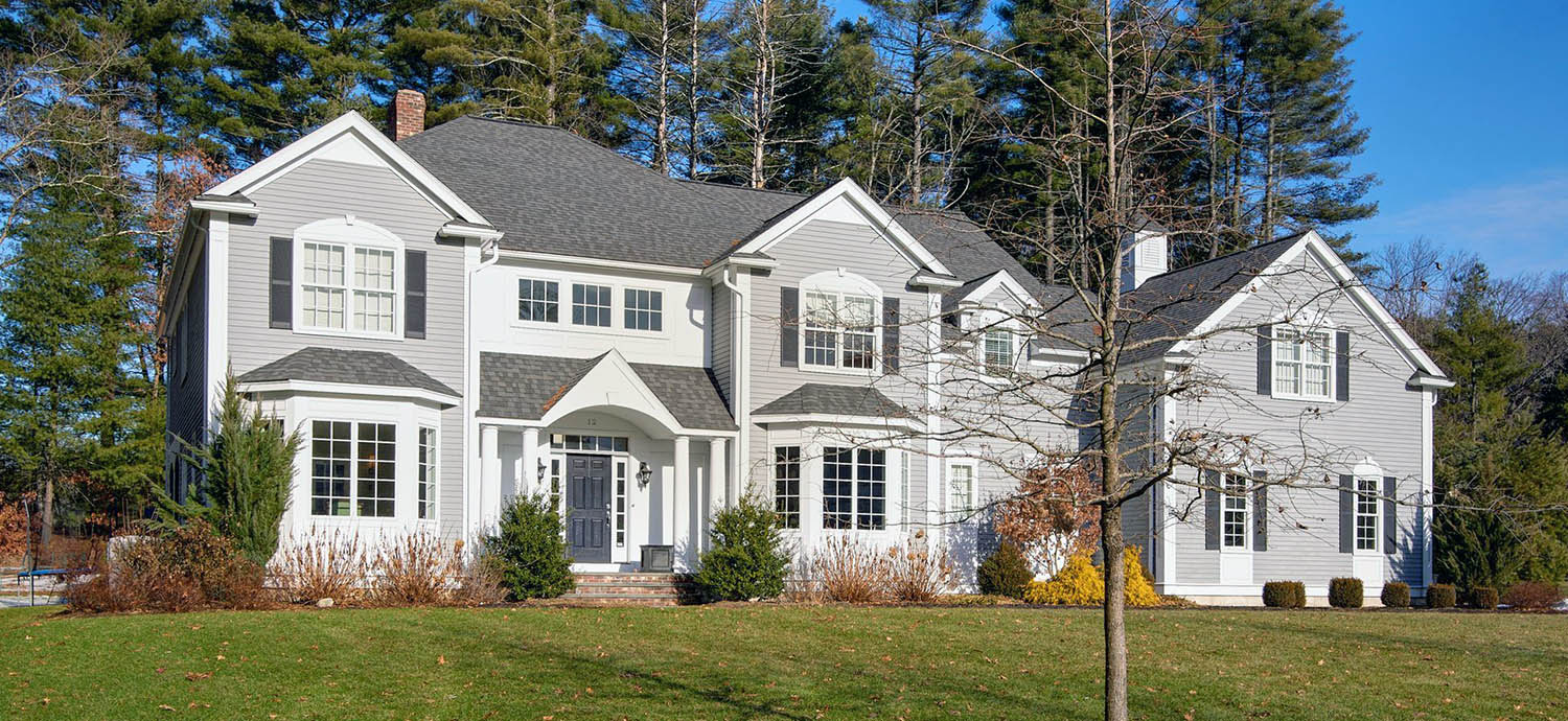 gray house color ideas with dark blue door gray siding and white trim