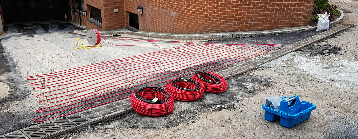 heated driveway hot water system PEX tubing