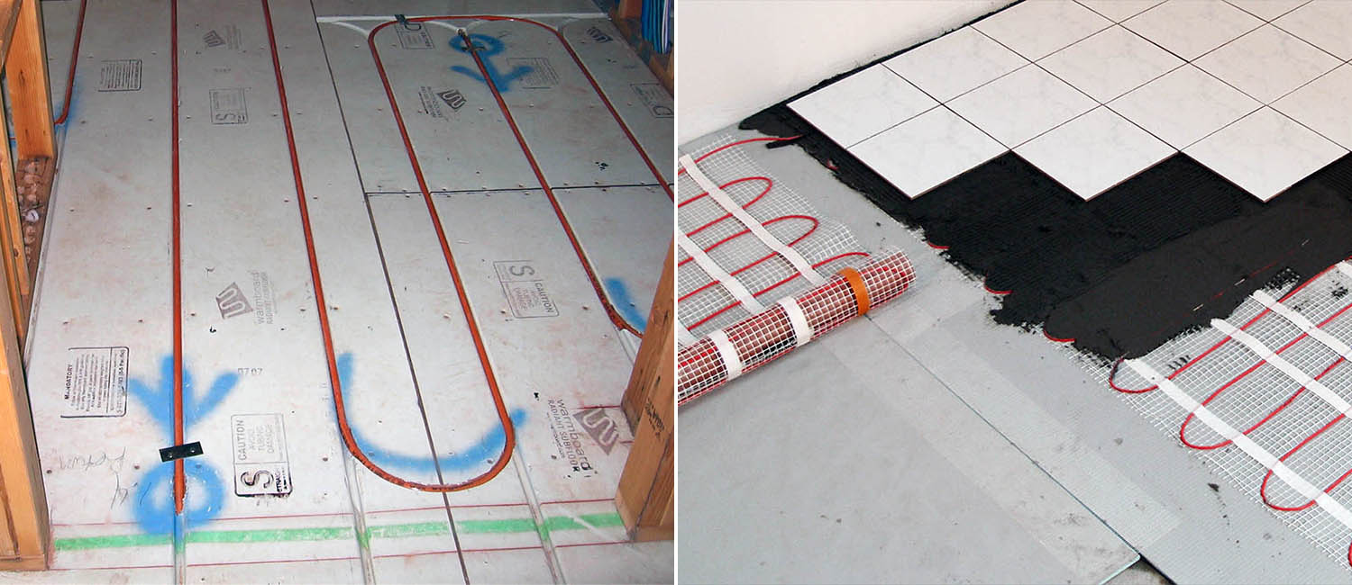 2 types of radiant floor heat electric and hot water