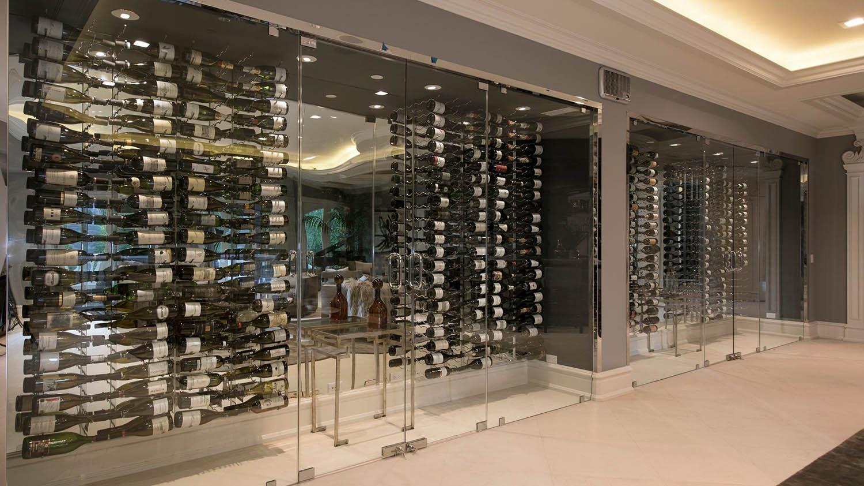 modern glass wine rooms glass walls metal display wine racks