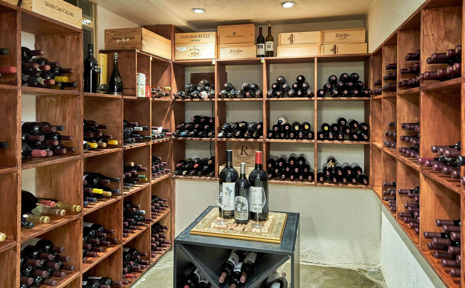 basement wine cellar design ideas wood storage with center table