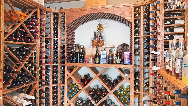 DIY wine room design wood wine racks
