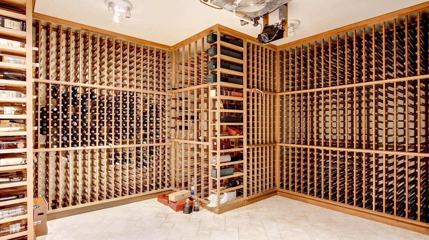 wine cellar design tons of single bottom wood racks with ceiling cooling unit