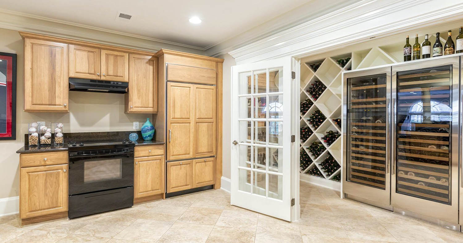 kitchen wine room diamond shelves and large wine refrigerator