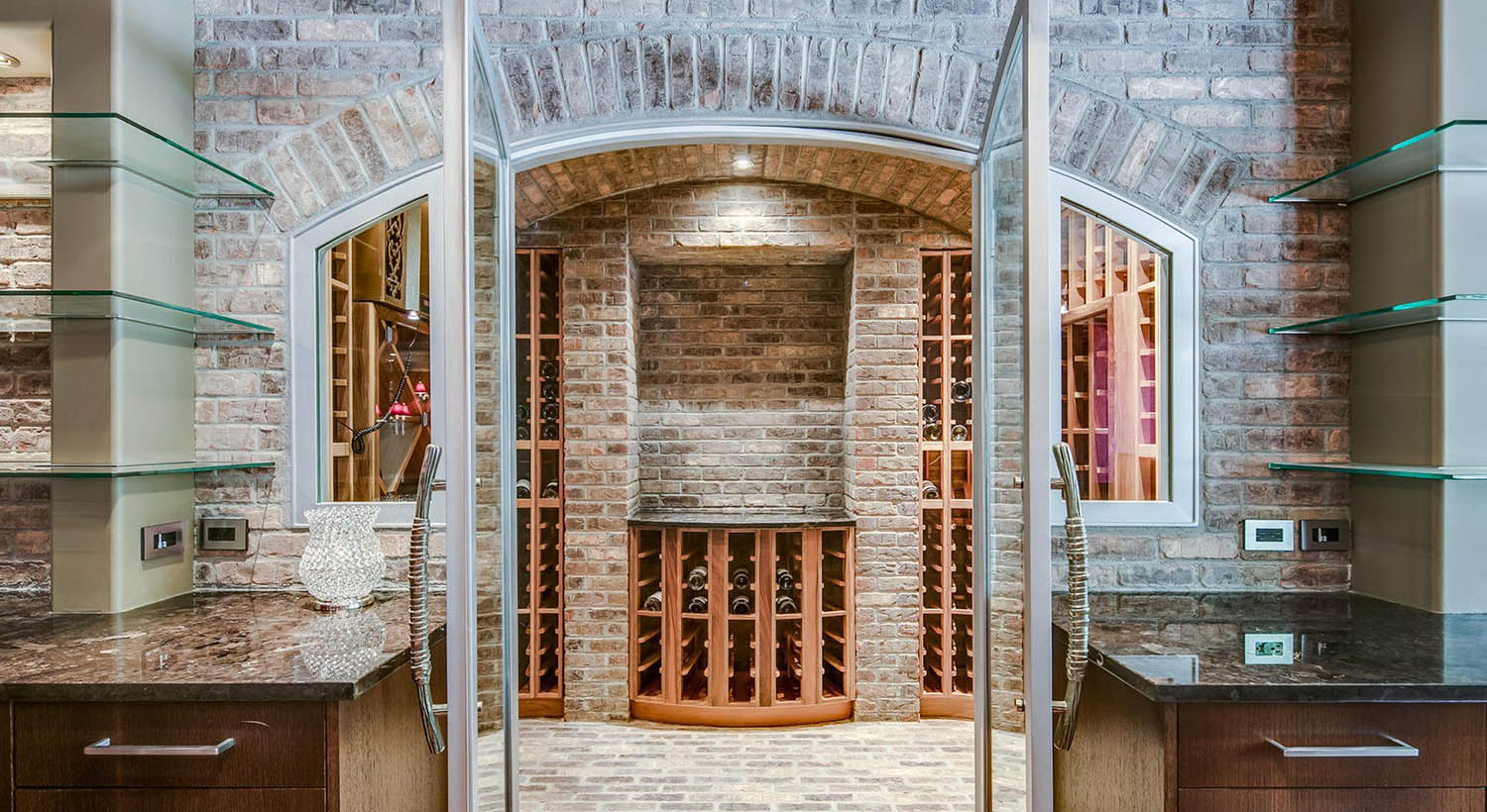 beautiful wine room design glass shelves, red brick walls and wood shelves, glass doors