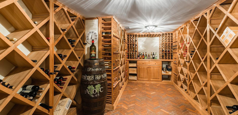 basement wine cellar design wood racks