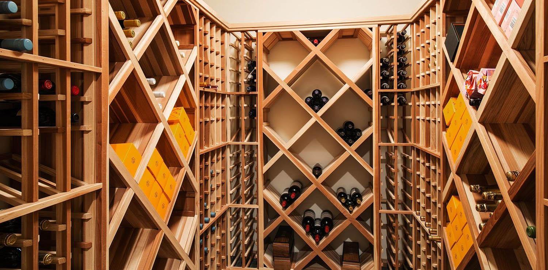 Simple DIY wine room with wood racks.