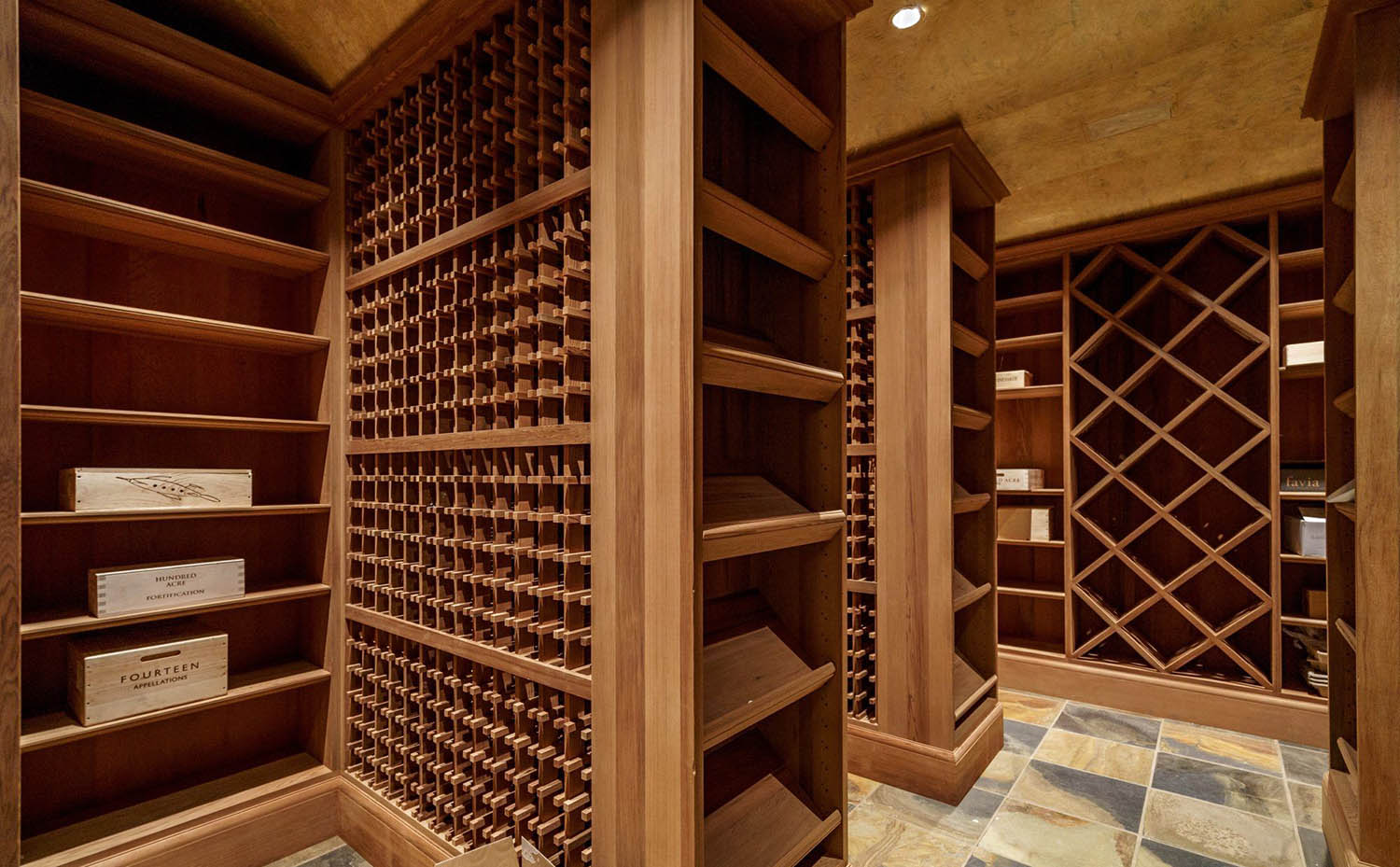 wine cellar with custom made wood racks a variety of shapes and sizes