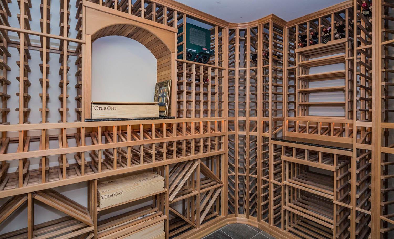 wine cellar design wood racks with tile floors