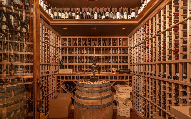 rustic wine room design single bottle wine racks and center barrel