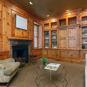 Wood wall paneling with built in cabinets and shelving. Light stain. Rustic knotty pine.