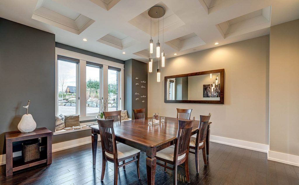 simple dining room sheetrock coffered ceiling design with center light fixture