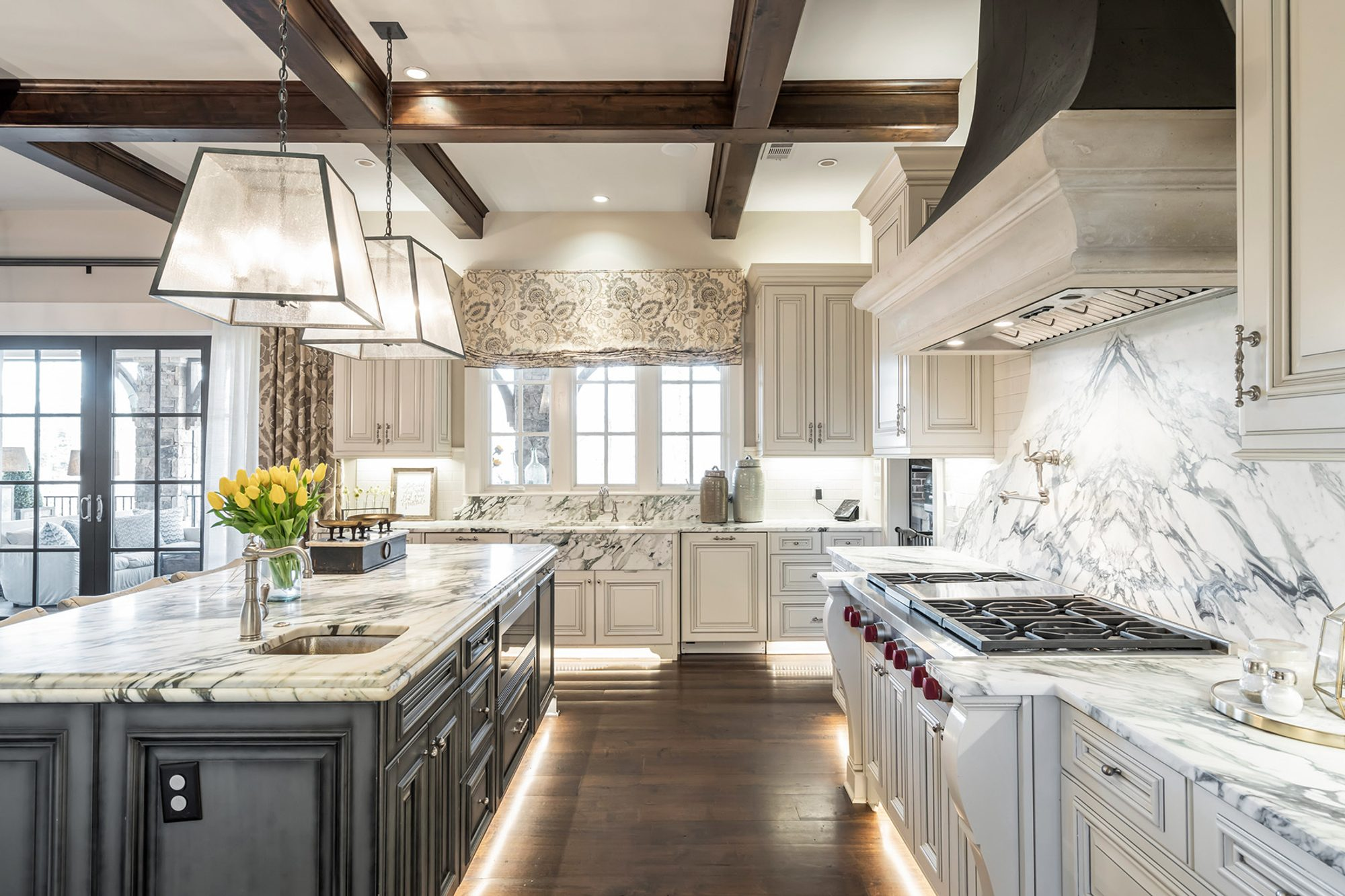 luxury kitchen with stained dark wood coffered ceiling