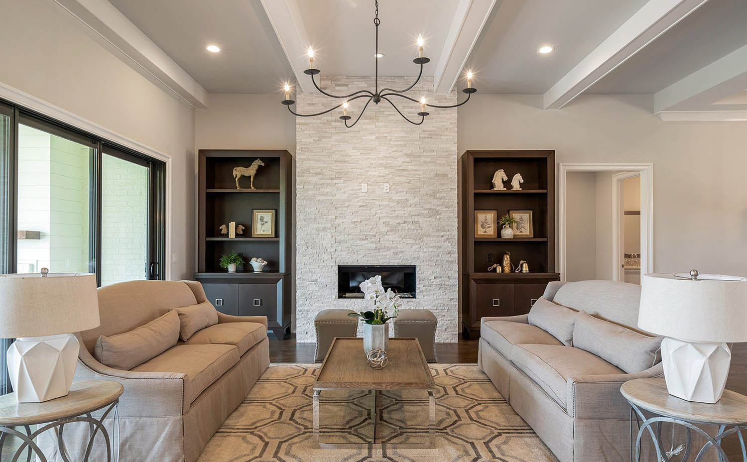 simple coffered ceiling design in a modern living room