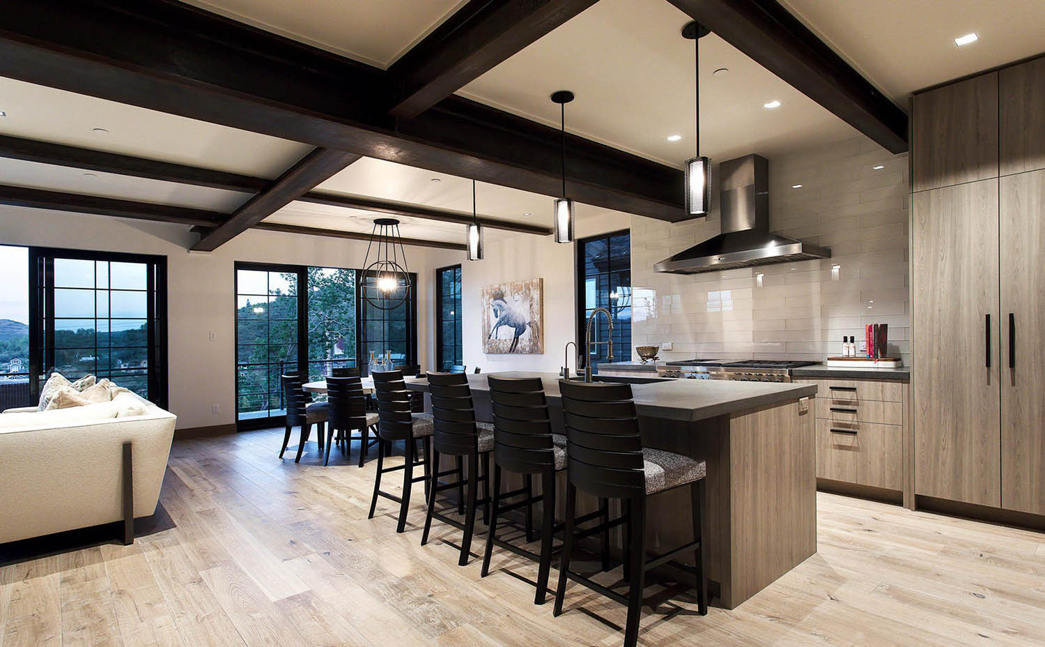 Modern Kitchen With Dark brown steel beam Coffered Ceiling