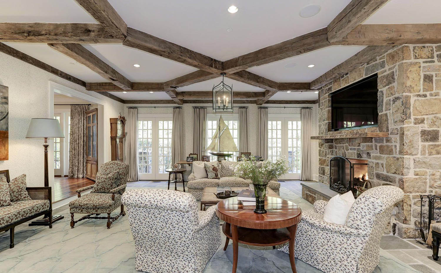 Real timber coffered ceiling beams in an octagon pattern