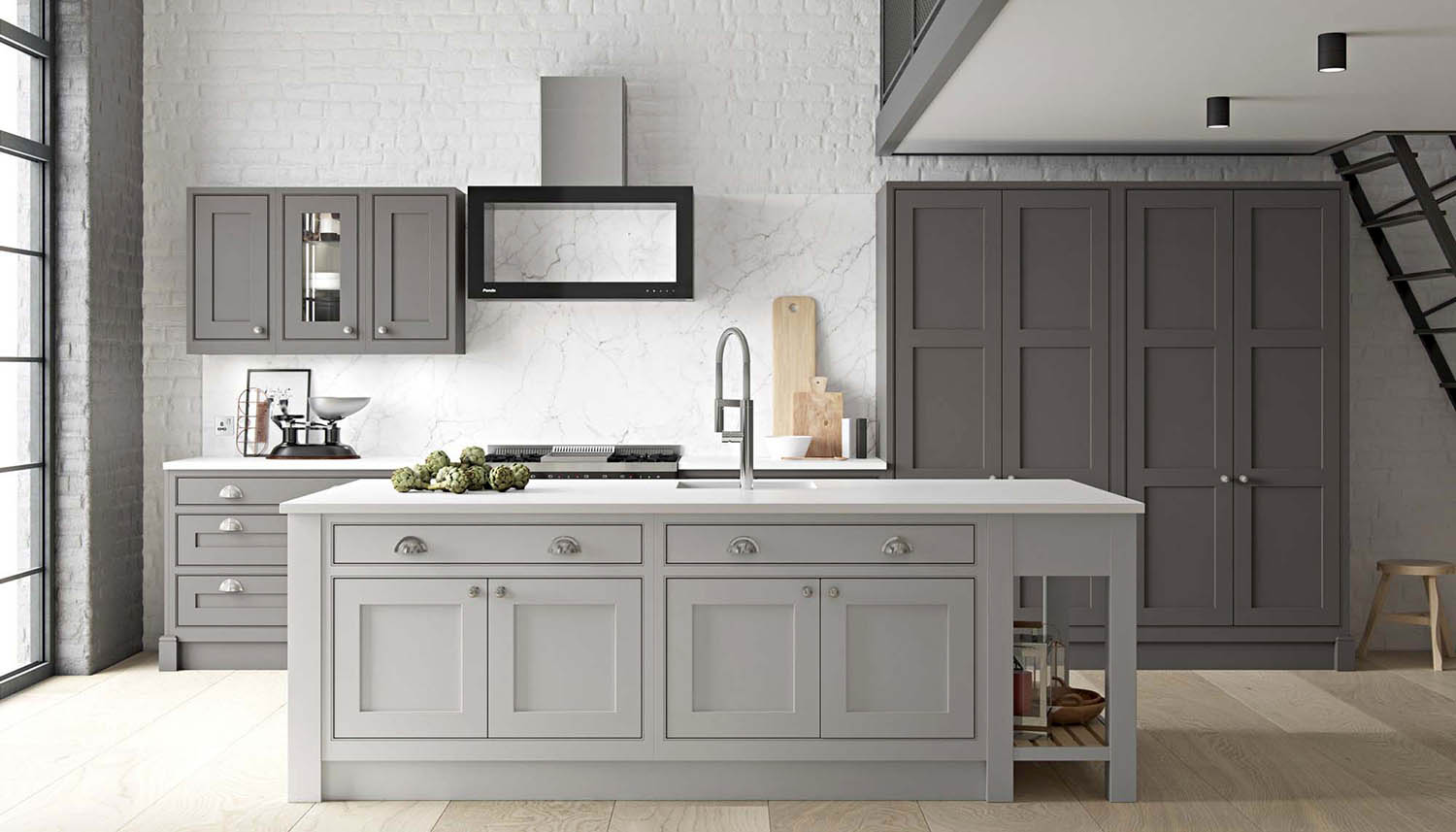 Gray cream kitchen cabinets with a modern design. White stone countertops. Solid slab marble backsplash with white brick veneer.