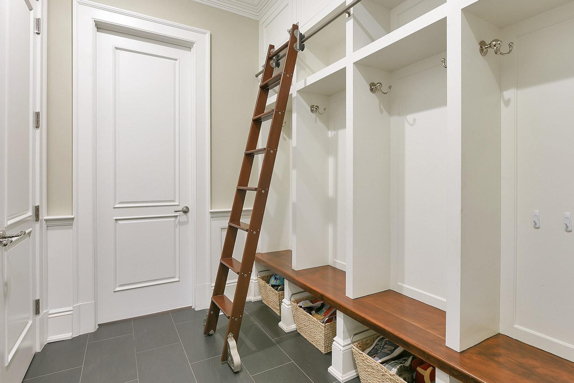 mudroom storage bench with ladder white and wood design with wainscoting