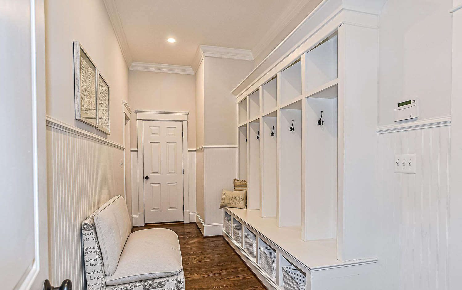 beautiful built in mudroom storage lockers in a hall