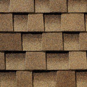 brown asphalt roof shingle closeup