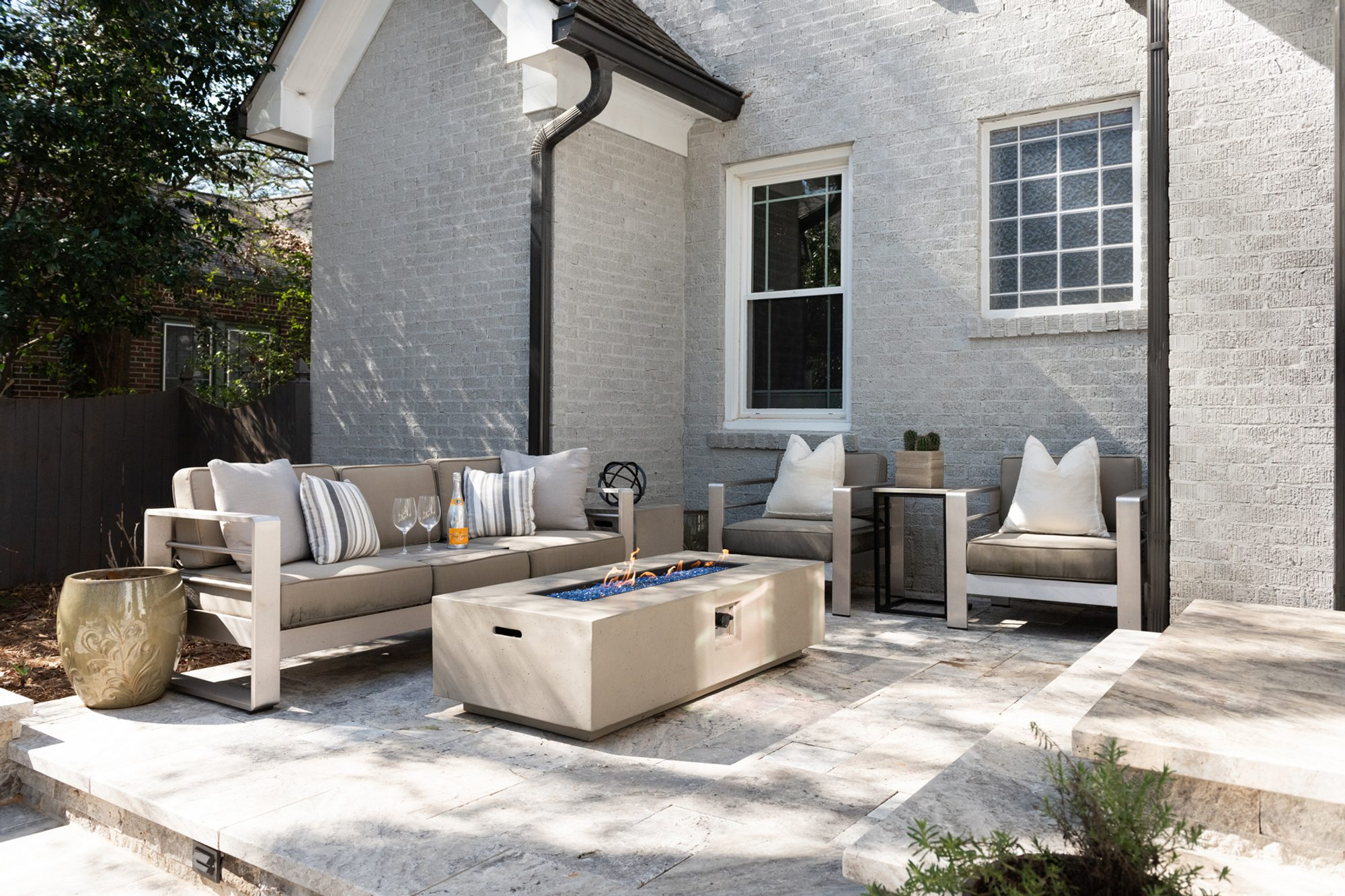 contemporary patio furniture set with modern fire pit