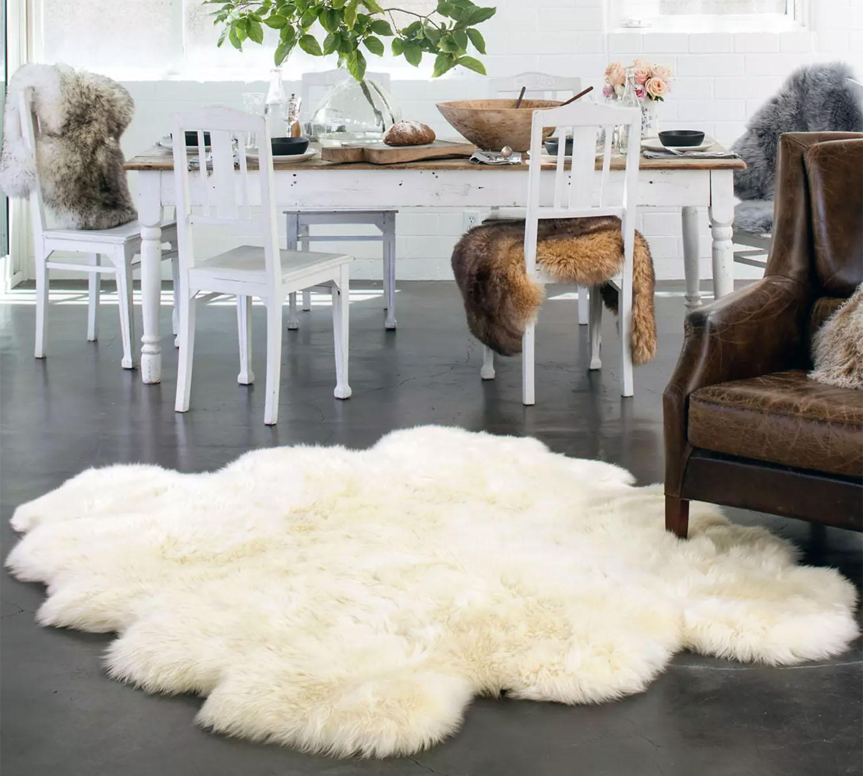 sheep skin rug on a polished concrete floor
