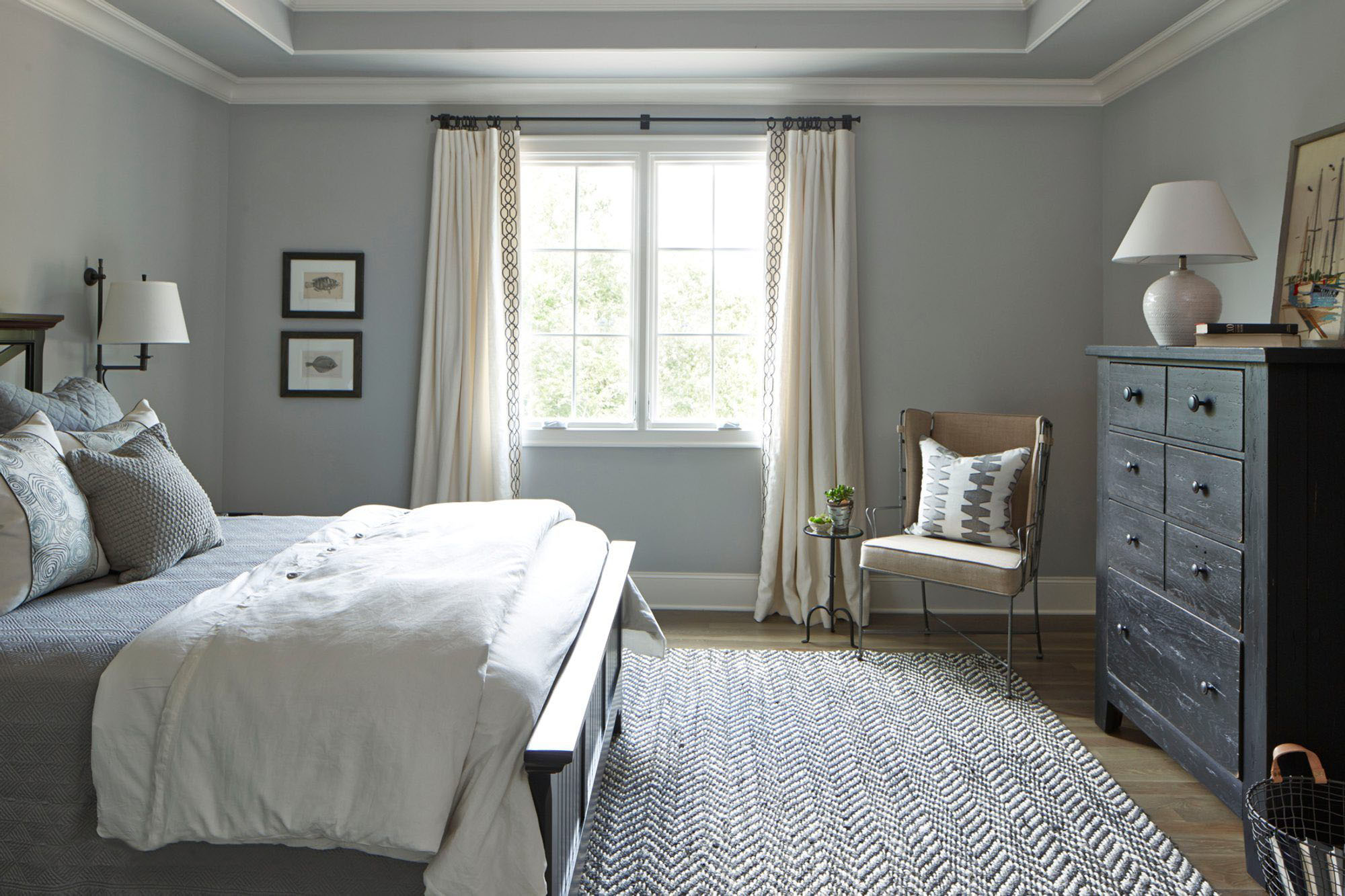 cotton rug in a bedroom gray and white and black color scheme