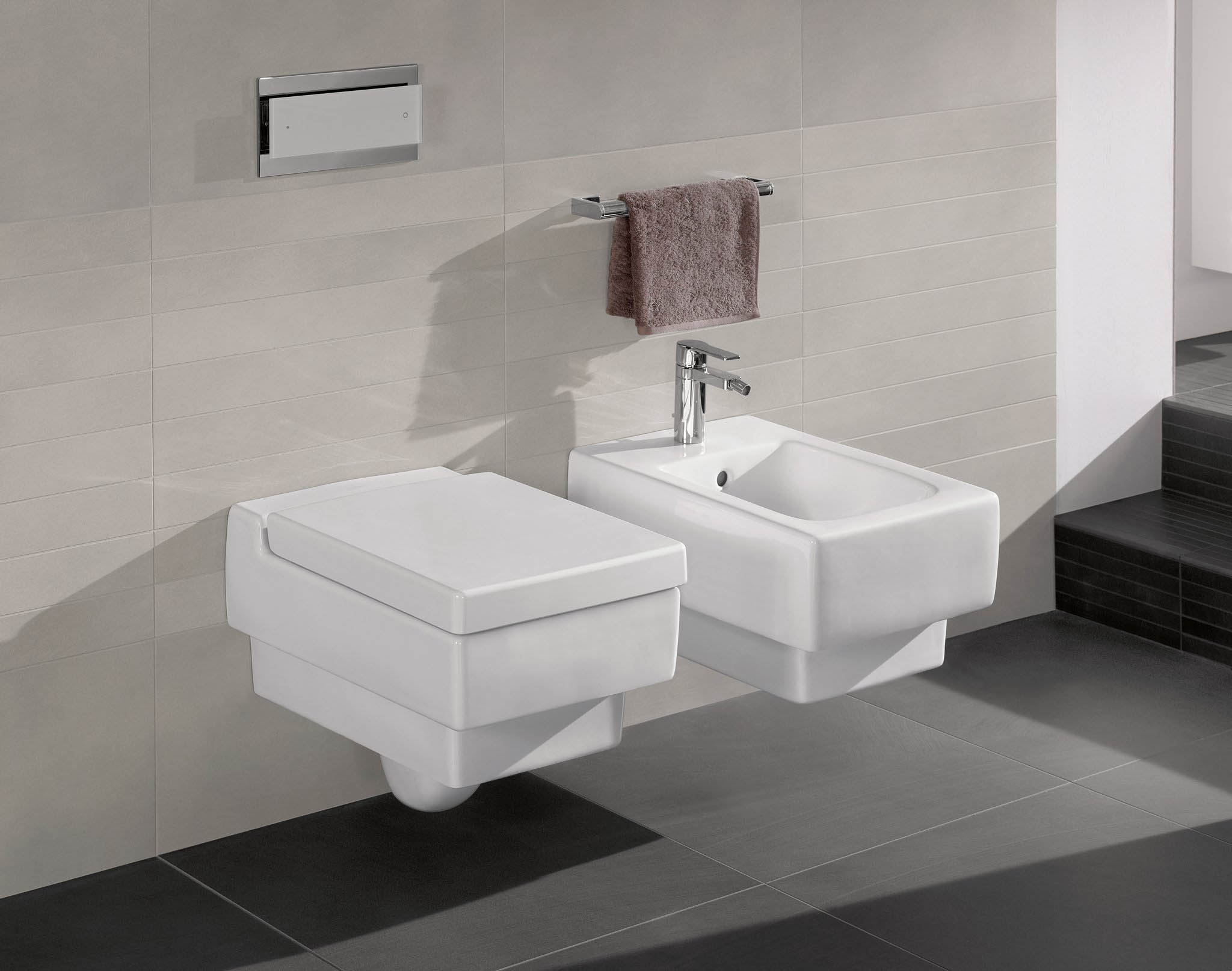 matching square bidet and toilet set wall mounted with electronic controls