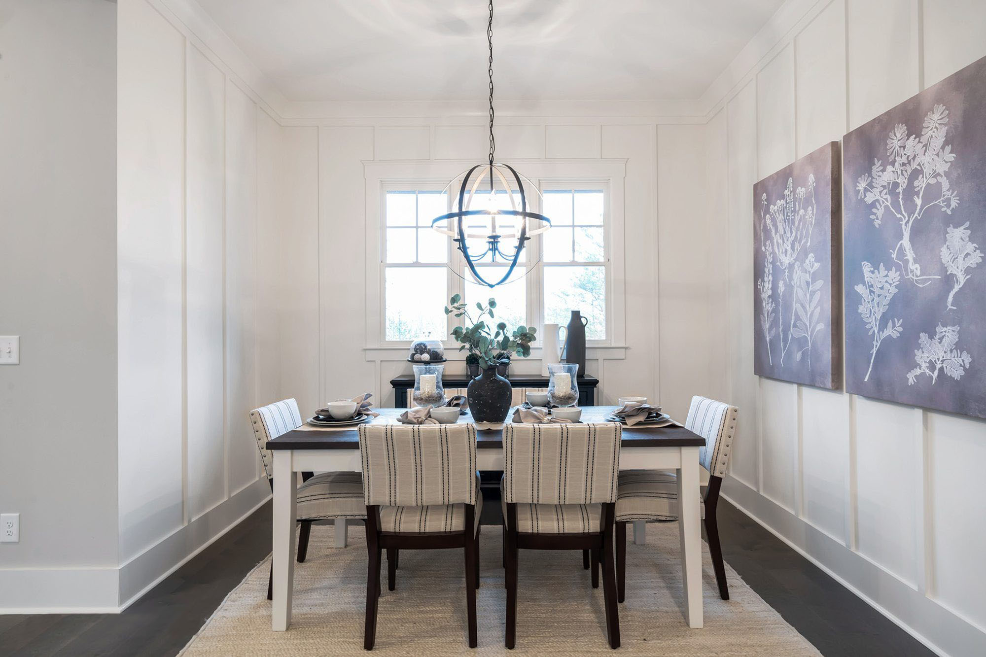 white and very dark wood color monochromatic dining room color scheme