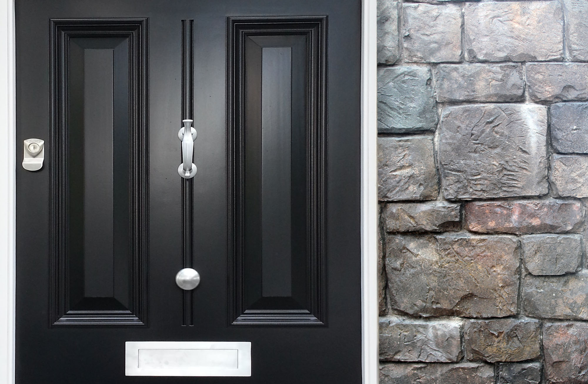 black front door paint with gray stone veneer and white trim brushes metal hardware and mail slot