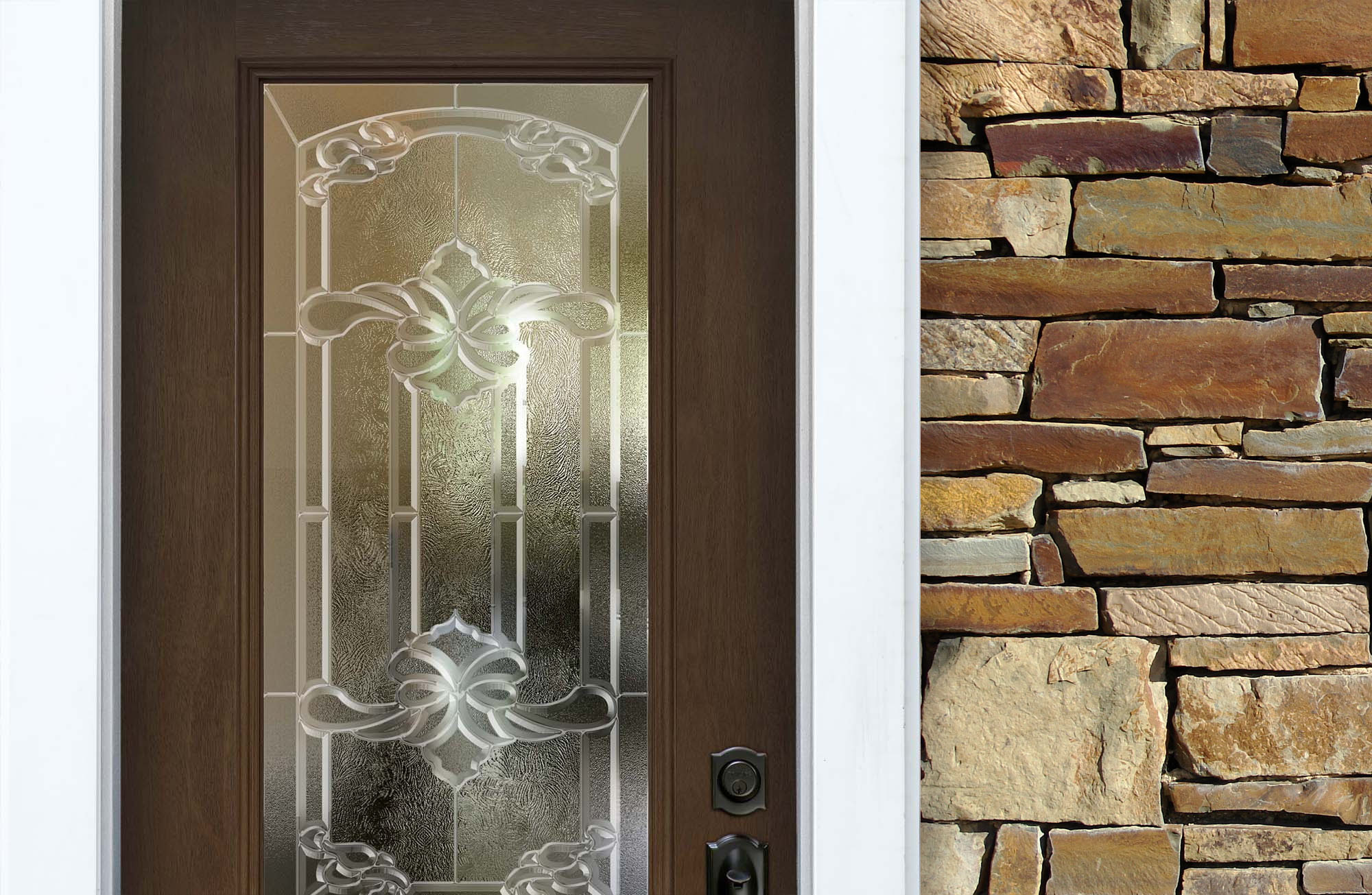 natural brown stained wood front door with brown natural stone veneer white trim