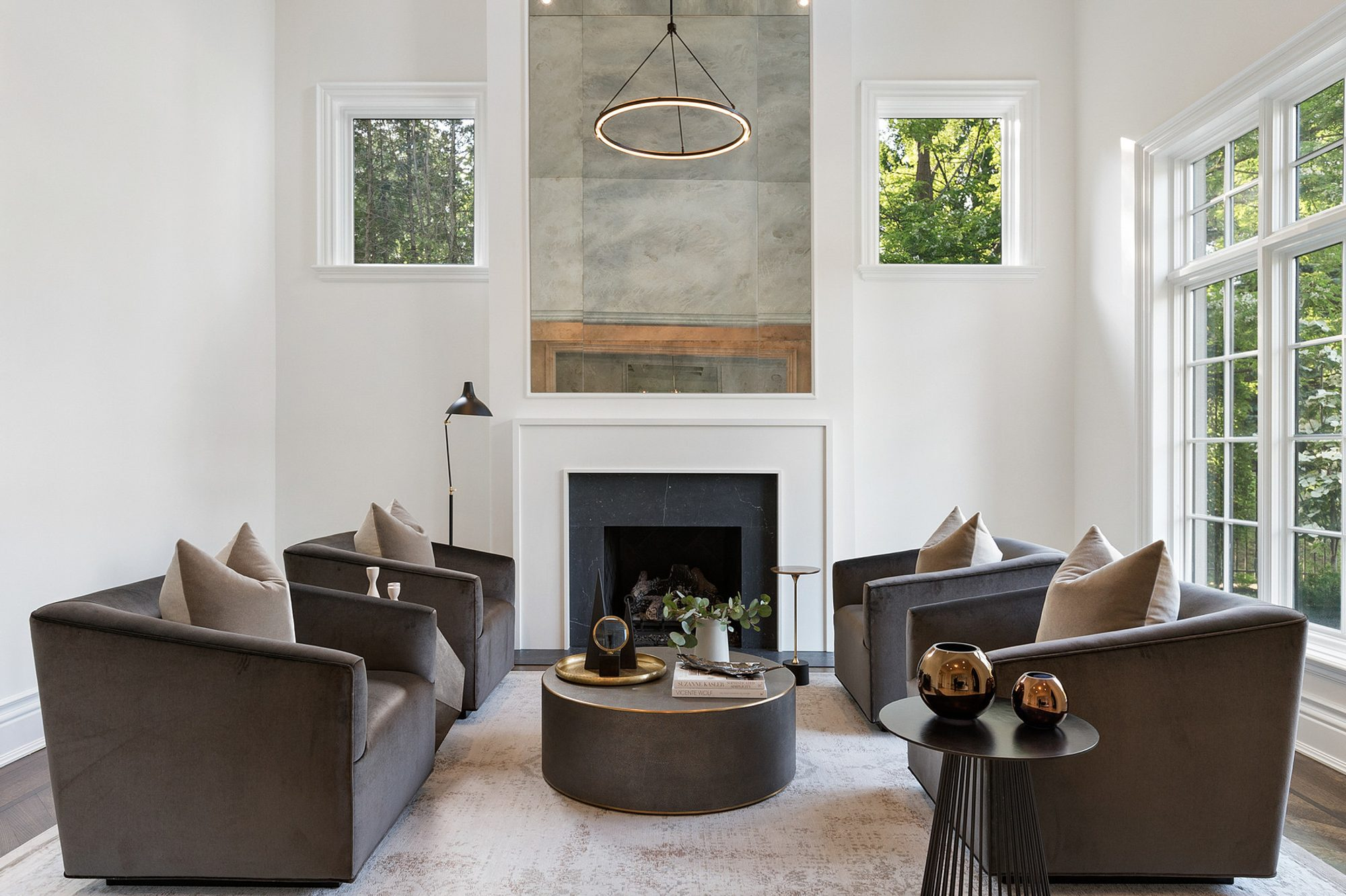 vintage style area rug in a living room