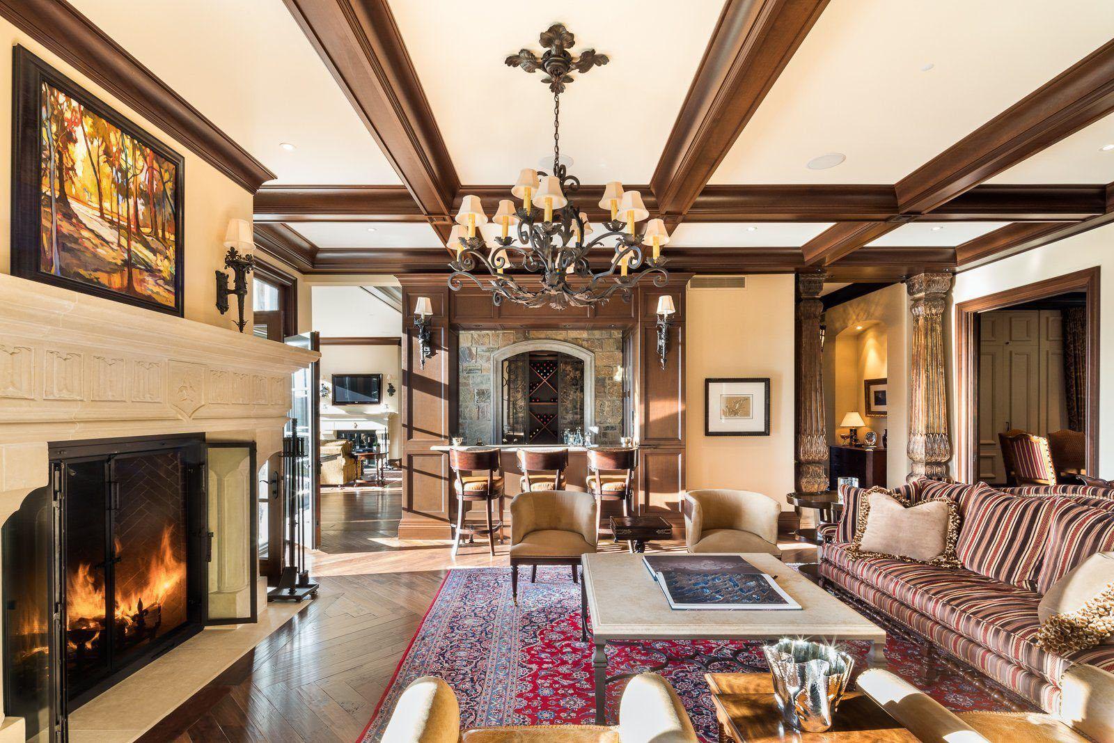beautiful pattern silk rug in a rustic living room