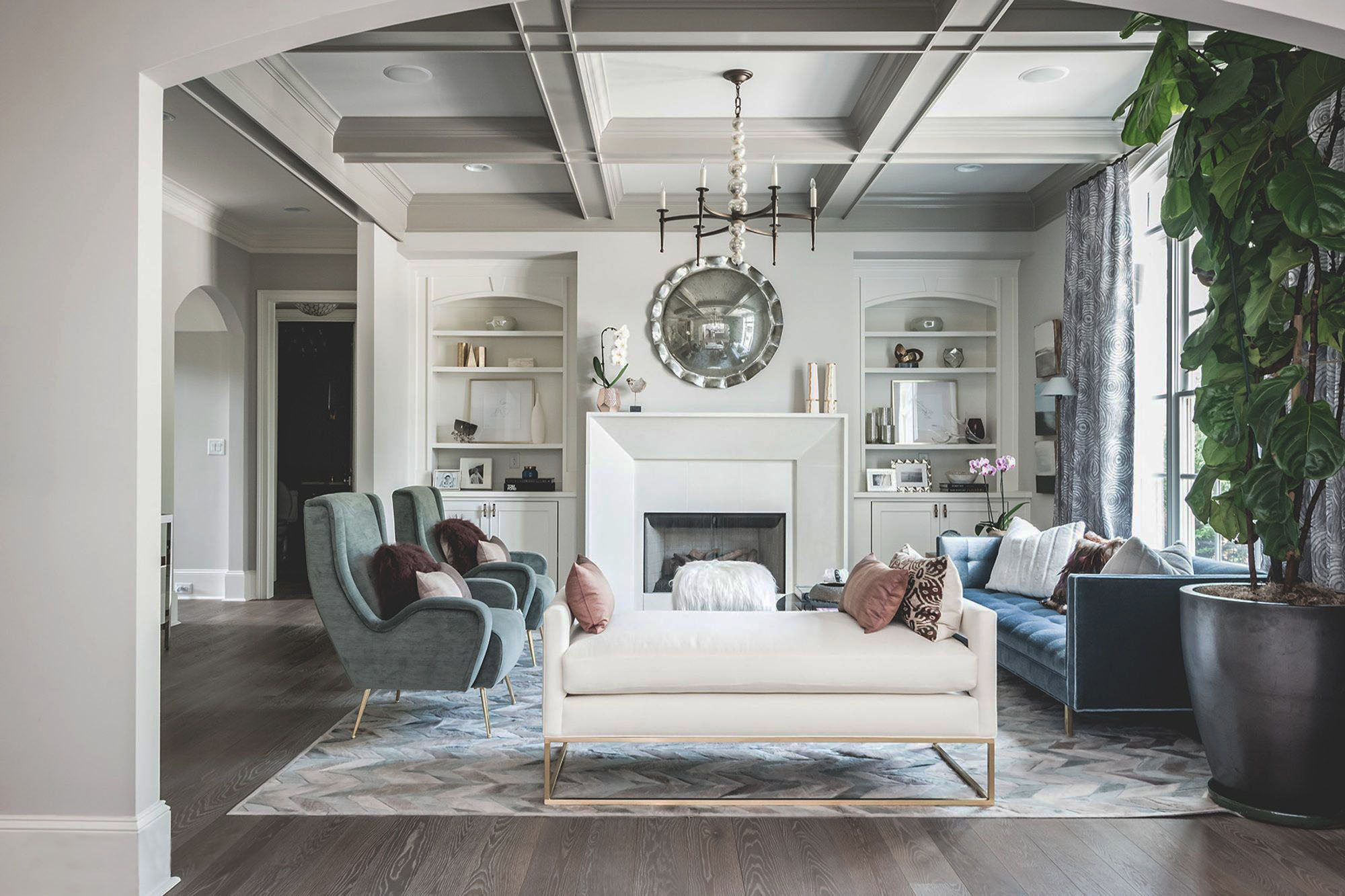 transition style rug in a modern sitting room